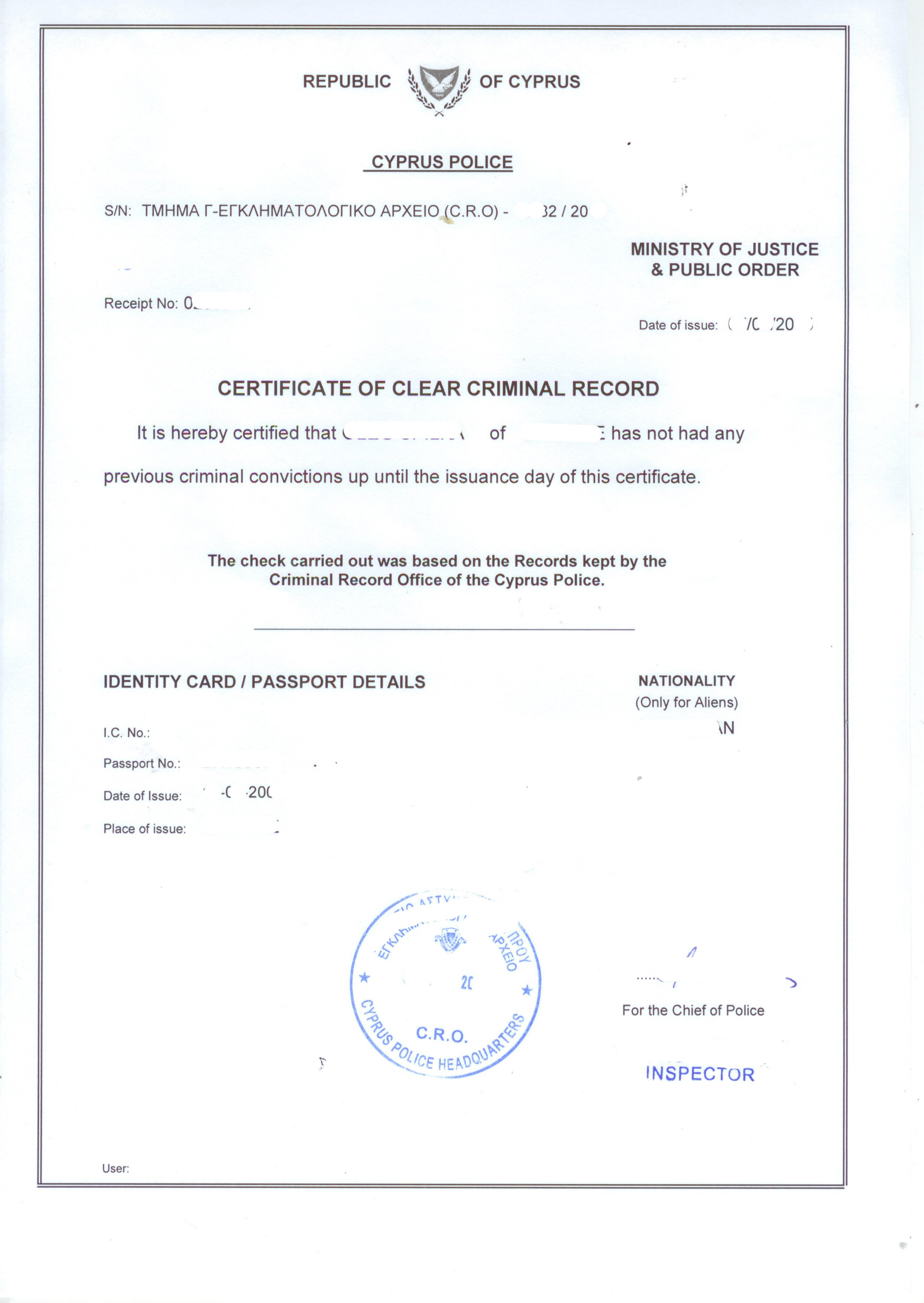 Criminal record certificate or police clearance certificate in cyprus certificate of clear criminal record cyprus police certificate in english thecheapjerseys Image collections